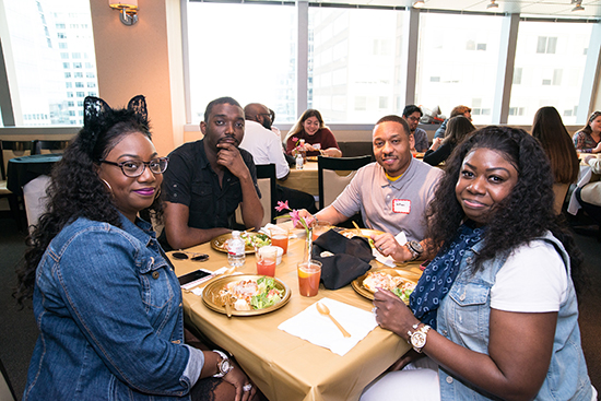 students enjoying dinner at the first year student spring dinner