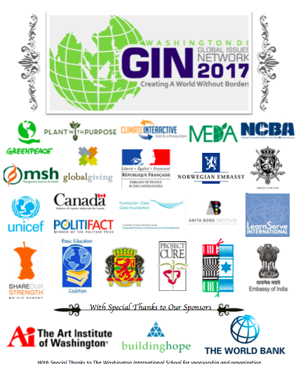 sponsors list of the global issues conference with AiW logo listed