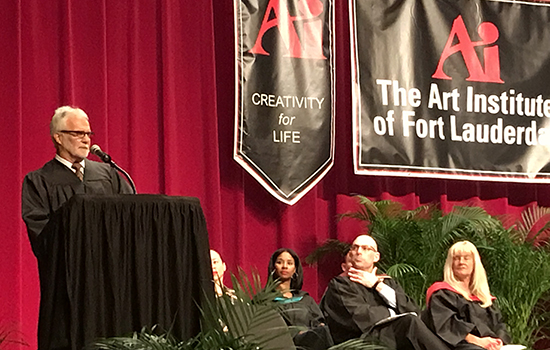 Art Institute of Fort Lauderdale commencement speaker, Captain Lee Rosbach.