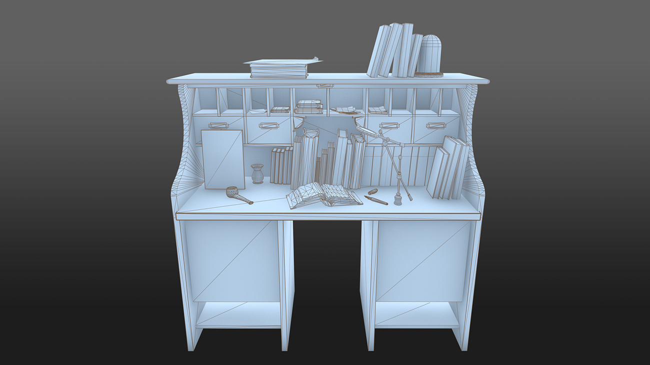 desk wireframe