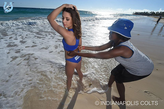 Colts Cheerleader Abby getting ready for shot