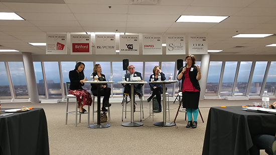 Panelists (Left To Right): Alicia McKoy, Connie Jung, Patrick Schmidt, Jill  Mendoza, Sarah Savage (speaking). PULSE Students Interior Design ...