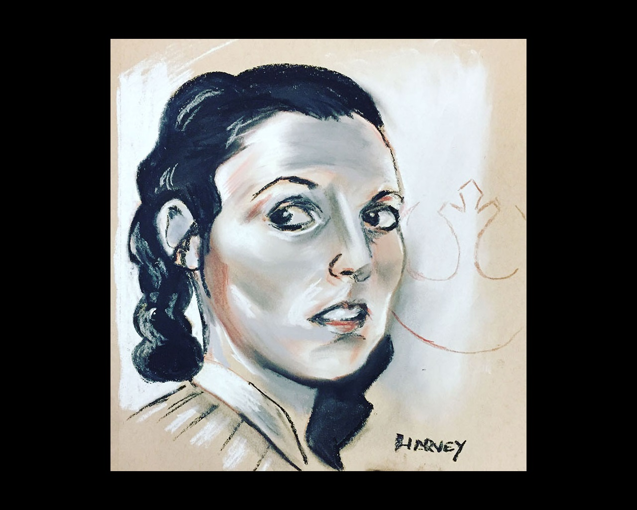 Chalk drawing of Princess Leia