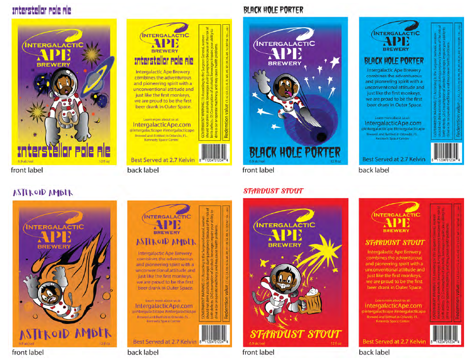 Beer bottle labels for Intergalactic Ape Brewery