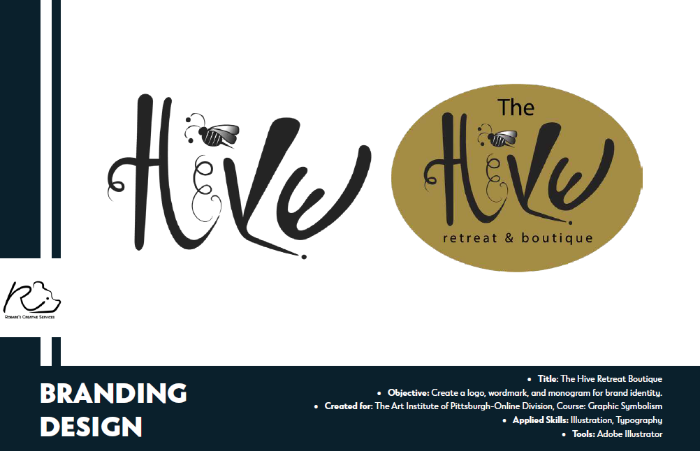 The Hive Retreat Boutique logo designs