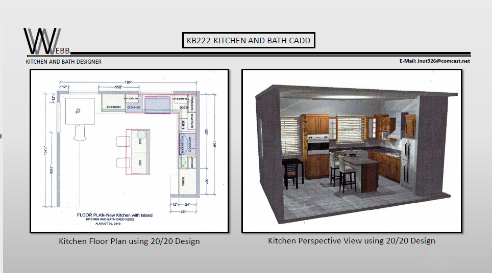 Kitchen plan and perspective view