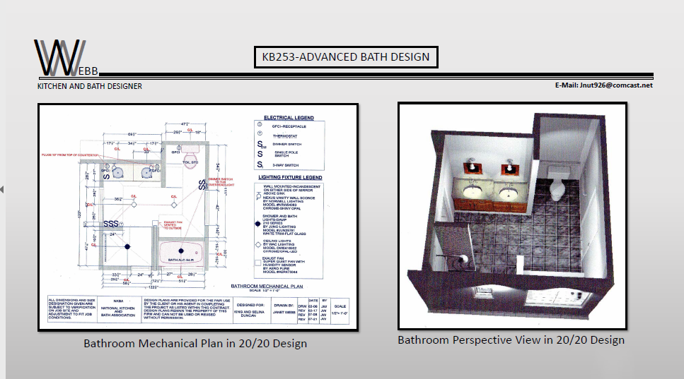 Bathroom mechanical plan and perpective view