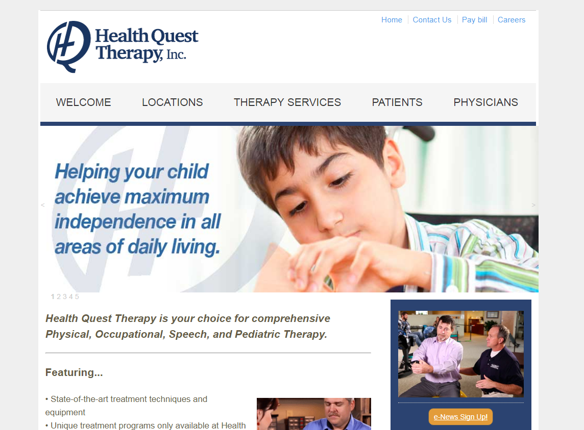 Health Quest Therapy page design
