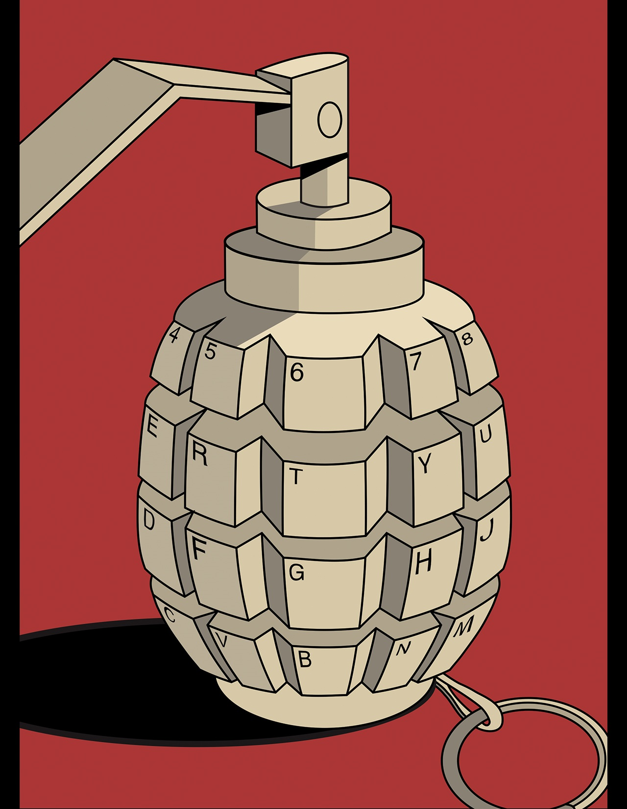 Illustration of a hand grenade designed with the letters and numbers of a QWERTY keyboard to represent cyber warfare