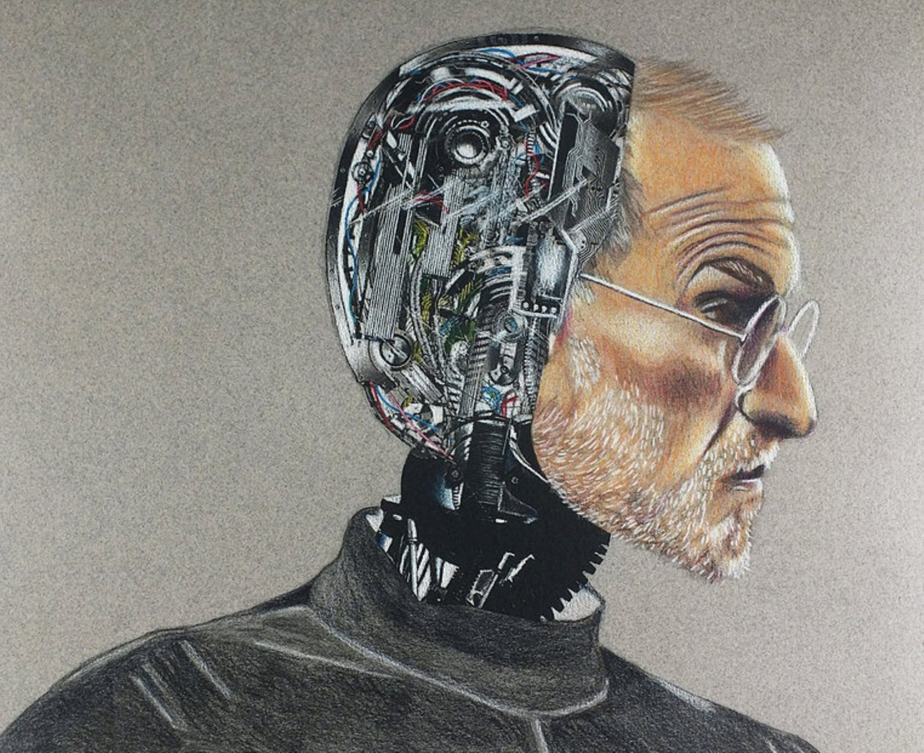Colored pencil drawing of Steve Jobs as a robot on Canson paper