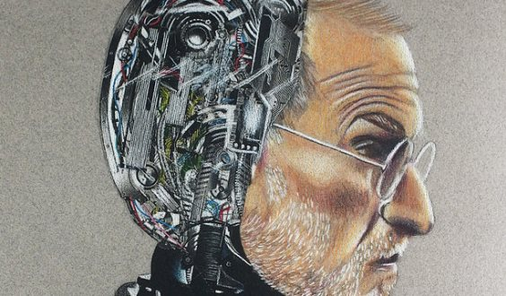 Thumbnail of colored pencil drawing of Steve Jobs as a robot on Canson paper