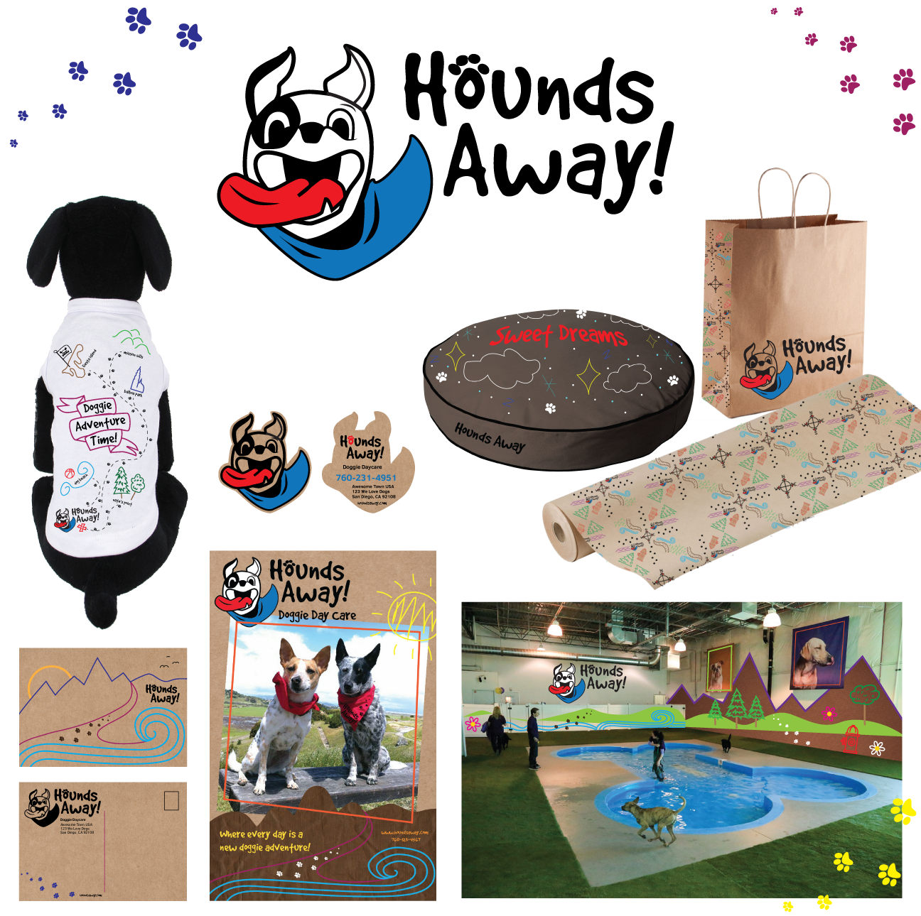 Hounds Away Doggie Day Care- Collateral Design