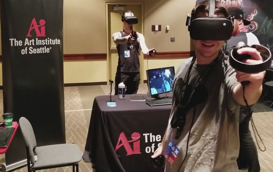 Fans playing student Virtual Reality game