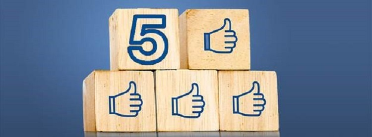 5 Blocks with Thumbs up and Number 5 for 5 steps to Social Media