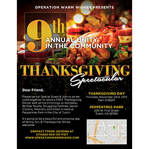 Orange County Grad TyRon Jackson to Hold Unity in the Community Thanksgiving Spectacular